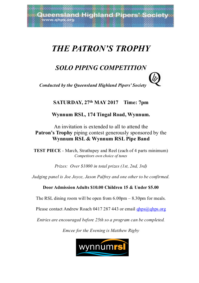 flyer for Patron's Trophy 2017